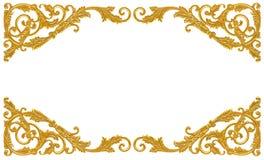 装饰品元素,葡萄酒金子花卉设计 图库摄影