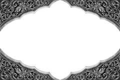 装饰品元素框架,葡萄酒银色花卉 免版税库存照片