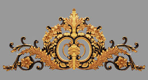 装饰品元素,花卉葡萄酒金子 库存图片