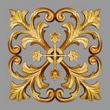 装饰品元素,花卉葡萄酒金子 免版税库存图片