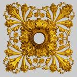 装饰品元素,葡萄酒金子花卉设计 免版税库存照片