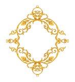 装饰品元素,葡萄酒金子花卉设计 免版税图库摄影