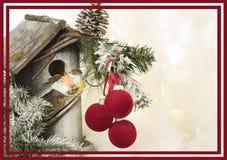 装饰品和一点房子和鸟装饰背景 库存照片