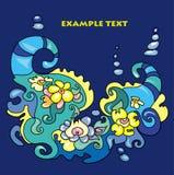 装饰品异常的蓝色海题材黄色 向量例证