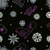 装饰品无缝的冬天 向量例证