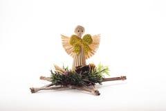 装饰品由秸杆制成以天使的形式 库存图片