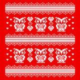装饰品红色猫头鹰和心脏 在爱的明智的猫头鹰 映象点艺术模板 免版税库存照片