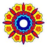 4装饰圆的花剪影样式 免版税库存照片