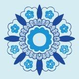 3装饰圆的花剪影样式 免版税库存图片