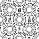 装饰圆的花卉背景 与叶子的无缝的样式您的设计的贴墙纸,样式积土,网页背景, 免版税图库摄影