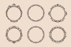 装饰圆的被设置的葡萄酒框架和边界 库存照片