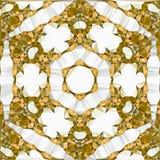 装饰圆的鞋带样式,金黄刺绣六角origami坛场 免版税库存图片