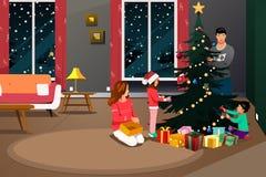 装饰圣诞树例证的愉快的家庭 库存照片