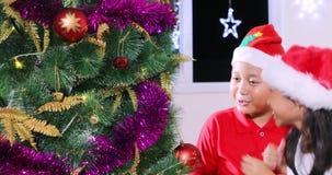 装饰圣诞树的快乐的孩子 股票视频