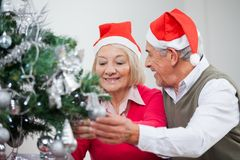 装饰圣诞树的资深夫妇 免版税库存图片