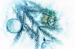 装饰圣诞树的 卡片 库存图片