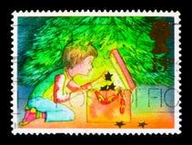 装饰圣诞树,圣诞节1987年serie,大约1987年 免版税库存图片