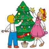 装饰圣诞树 库存例证