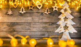 装饰圣诞节土气背景 免版税库存图片