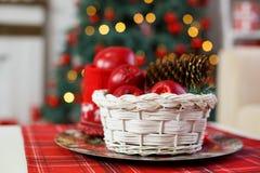 装饰圣诞节的构成 装饰新年 免版税库存图片