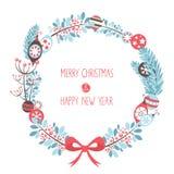 装饰圣诞节花圈庆祝明信片 向量例证