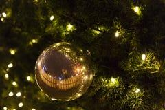 装饰圣诞节装饰在一棵针叶树的绿色常青分支的中看不中用的物品在圣诞节市场上在布拉格 库存图片