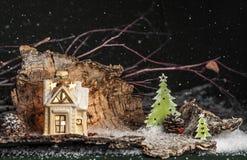 装饰圣诞节装饰,绿色背景的一个房子 库存图片