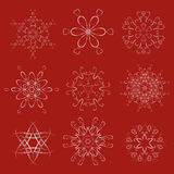 装饰圣诞节雪花传染媒介集合 免版税图库摄影