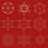 装饰圣诞节雪花传染媒介集合 免版税库存图片