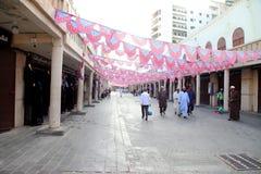 装饰在吉达赖买丹月在老市场巴勒阿德上购物和顾客在吉达,沙特阿拉伯, 15-06-2018 免版税图库摄影