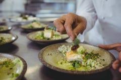 装饰在板材的男性厨师的中间部分开胃菜 库存图片