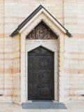 装饰在通告的大教堂的教会的侧面墙的装饰的门在老城拿撒勒在Isra 免版税库存照片