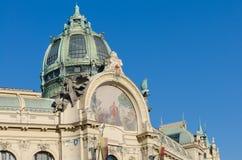 装饰外部房子市政布拉格 免版税图库摄影