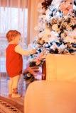 装饰女孩的圣诞节少许查出在结构树白色 库存照片