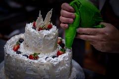 装饰奶油蛋糕和果子 图库摄影