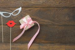 装饰愉快的母亲节假日或生日聚会背景概念的顶视图空中图象 库存照片