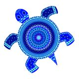 装饰抽象乌龟蓝色颜色 免版税库存照片