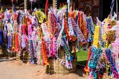 装饰旗子和沙子,泰国传统 免版税库存图片