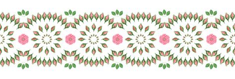 装饰无缝的条纹/边界与花民间样式 库存例证