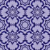 装饰无缝的模式 背景金子查出的lable模板葡萄酒 蓝色曲线元素 库存例证