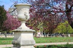 装饰春天开花的公园的古色古香的花瓶 库存照片