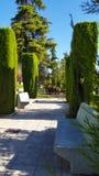 装饰木教规在一个美丽的绿色公园 蓝色cloudles 免版税图库摄影