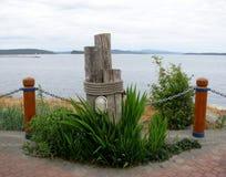 装饰木系船柱 悉尼, BC,加拿大 库存图片