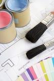 装饰材料工具 免版税库存图片