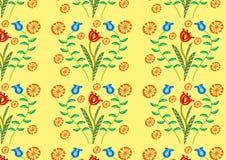 装饰植物无缝的样式 免版税库存照片