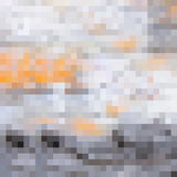装饰模糊的帆布印刷品的灰色和橙色方形的映象点样式 库存照片