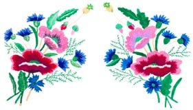 装饰民间艺术,表面上的刺绣,在白色背景的花束 免版税库存图片