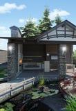装饰池塘和庭院亭子, 3D翻译 免版税库存图片