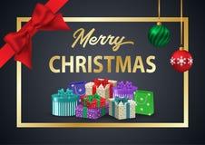 装饰海报圣诞快乐 在金子fra的题字 库存图片