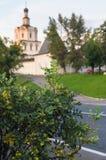 装饰灌木的片段在古老Andronikov修道院背景的  莫斯科俄国 免版税库存图片